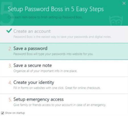setup password on passwordboss