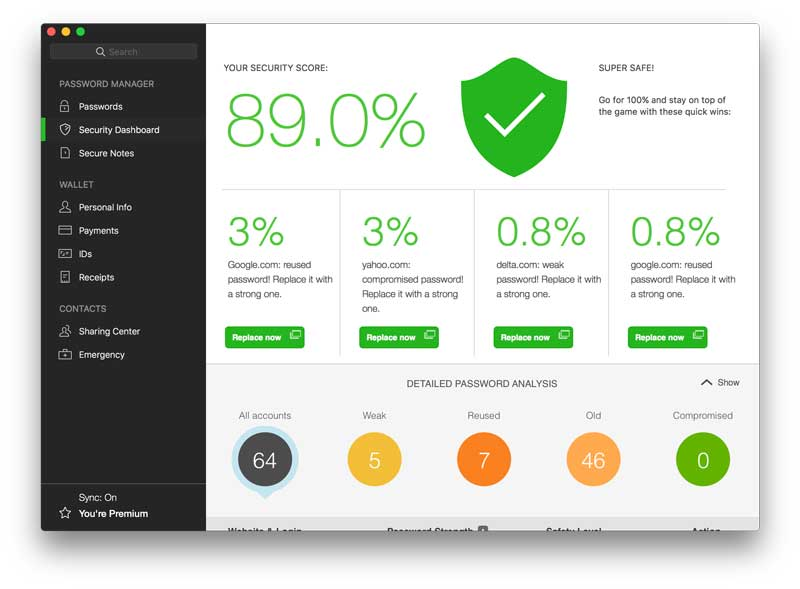 Dashlane screenshot security score