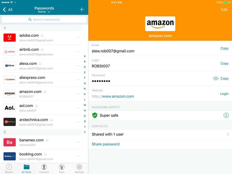 Dashlane password manager interface