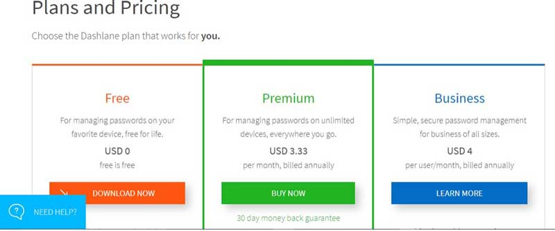 Dashlane screenshot membership