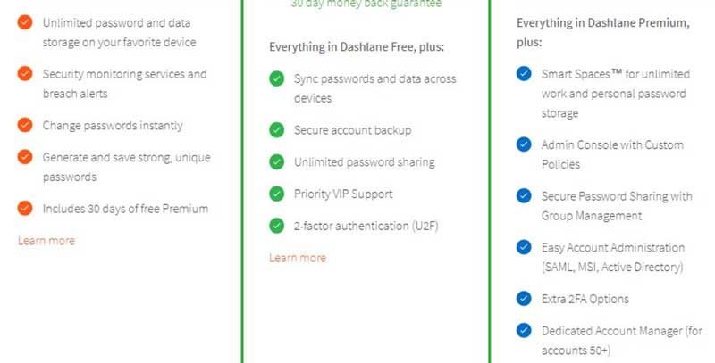 Dashlane screenshot features