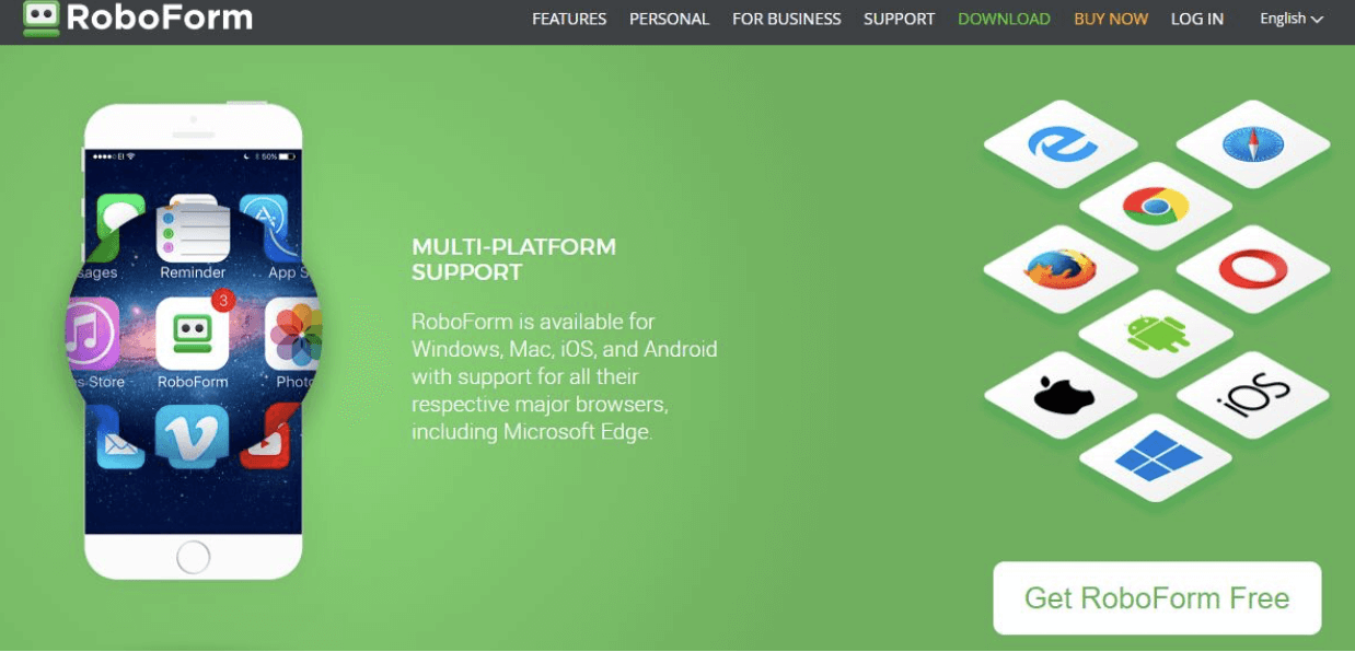 Roboform screenshot multi platform support
